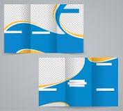 三折叠企业小册子模板、公司飞行物或者盖子设计在蓝色颜色 免版税库存照片