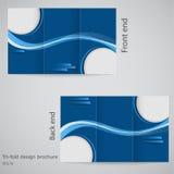 三折叠企业小册子模板、公司飞行物或者盖子设计在蓝色颜色 库存照片