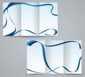三折叠企业小册子模板、公司飞行物或者盖子设计在蓝色颜色 免版税库存图片
