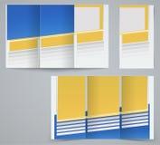 三折叠企业小册子模板,公司飞行物或盖子设计在蓝色和黄色颜色 免版税库存图片