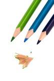三支色的铅笔 库存照片