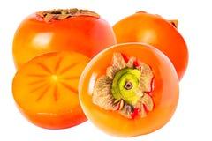 三整个和在白色背景隔绝的半柿子 库存图片