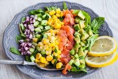 三文鱼、鲕梨、玉米、黄瓜和葱沙拉 库存图片