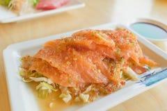 三文鱼与泰国海鲜的香料混合和  库存照片