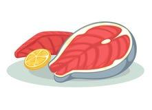 三文鱼内圆角或金枪鱼排 皇族释放例证