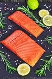 三文鱼内圆角用新鲜的迷迭香,盐,胡椒的混合 免版税库存照片