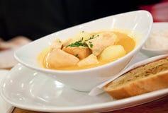 三文鱼和土豆汤 免版税库存照片