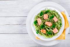 三文鱼和菠菜在白色盘的意大利细面条面团 库存图片