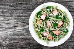 三文鱼和菠菜在白色盘的意大利细面条面团 免版税库存照片