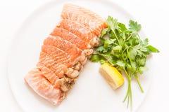 三文鱼和虾装在口袋里未加工在白色背景 免版税图库摄影