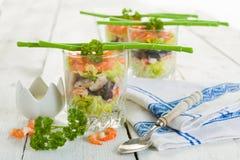三文鱼和虾verrine 库存照片
