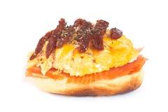 三文鱼小圆面包 免版税库存图片