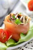 三文鱼开胃菜充满蘑菇 免版税库存照片
