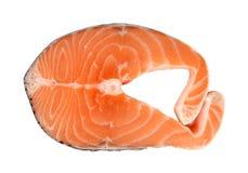 三文鱼未加工的牛排在白色的 包括的裁减路线 免版税库存图片