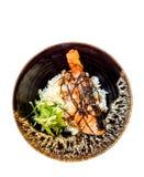 三文鱼格栅用米-日本食物 免版税库存照片