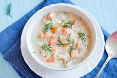 三文鱼汤用面条 图库摄影