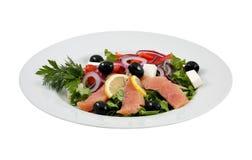 三文鱼沙拉、橄榄、乳酪和菜 免版税库存照片