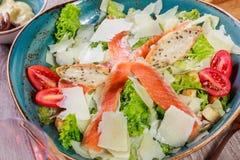 三文鱼沙拉用金枪鱼调味汁,帕尔马干酪,油煎方型小面包片,蕃茄,在木背景的混杂的绿色 bufala食物意大利地中海无盐干酪 图库摄影