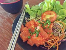 三文鱼沙拉,日本食物 图库摄影
