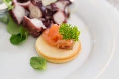三文鱼油煎方型小面包片用章鱼沙拉 库存照片