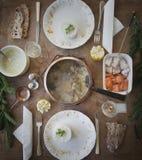 三文鱼法国膳食涮制菜肴  免版税库存照片