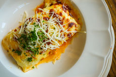 三文鱼烤宽面条,意大利食物 免版税库存图片