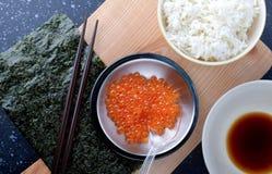 三文鱼獐鹿用米 免版税库存图片