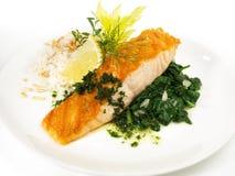 三文鱼用菠菜和米 库存图片