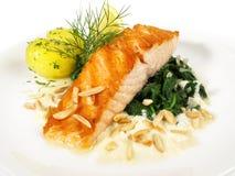 三文鱼用菠菜和Potatos 库存照片