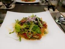 三文鱼用蕃茄和蓬蒿 库存照片
