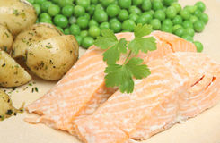 三文鱼被烘烤的内圆角 图库摄影
