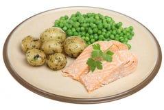 三文鱼被烘烤的内圆角 库存图片