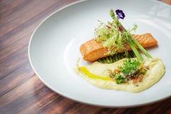 三文鱼食谱用莳萝奶油沙司 图库摄影