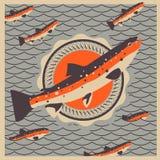 三文鱼鱼吉祥人在减速火箭的样式背景中 库存图片