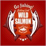 三文鱼鱼 葡萄酒三文鱼渔象征,标签和设计元素 在红色的传染媒介例证 库存照片