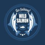三文鱼鱼 葡萄酒三文鱼渔象征,标签和设计元素 在蓝色的传染媒介例证 免版税库存照片