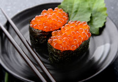 三文鱼鸡蛋或Ikura在日本式 库存照片
