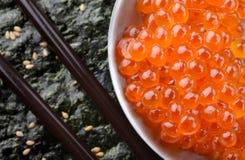三文鱼鸡蛋或Ikura在日本式 免版税库存图片