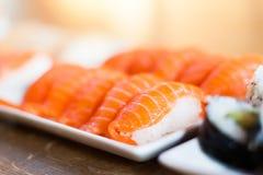 三文鱼Nigiri寿司 库存图片
