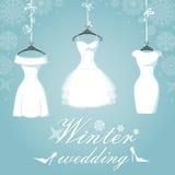 三新娘礼服 户外婚姻冬天的新娘新郎 雪花 免版税库存图片