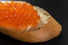 三明治用三文鱼红色鱼子酱 库存照片