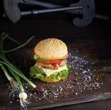 三明治用两棵肉炸肉排、乳酪和菜 库存照片