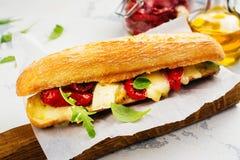 三明治用干蕃茄、咸味干乳酪乳酪和火箭沙拉 免版税库存照片