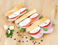 三明治用蕃茄火腿和无盐干酪 图库摄影