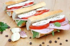 三明治用蕃茄火腿和无盐干酪 免版税图库摄影
