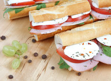 三明治用蕃茄火腿和无盐干酪 库存图片