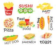 三明治集合文本没有使用的艺术品泡影狗编辑可能的快餐梯度汉堡包热层 库存例证