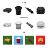 三明治,咖啡,烤肉串,汉堡 在黑,平,单色样式传染媒介标志的快餐集合汇集象 向量例证