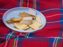 三明治、薄脆饼干和油炸马铃薯片 免版税库存照片