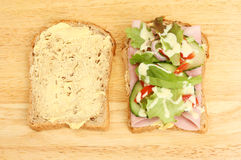 三明治一半 库存图片
